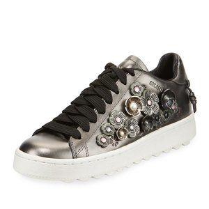 Coach Tea Rose Metallic Leather Low-Top Sneakers